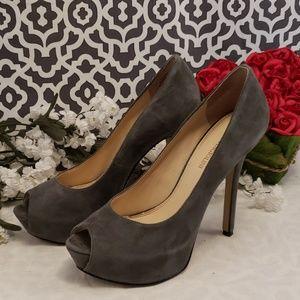 Enzo Angiolini Eatanen grey suede platform heels